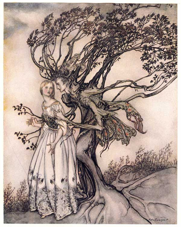 A copy of a 100 year old ink illustration from Brothers Grimm folklore. A tree-like man is grasping a woman wearing a long dress, looking over her shoulder with warning.