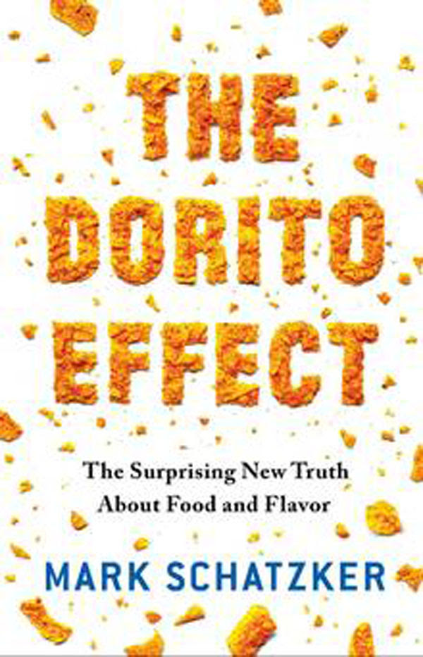 Cover of the Dorito Effect book, typography spelled out with Doritos chips